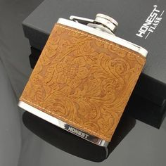 leather wrapped stainless steel hip flask, high-end gift – RnA Direct