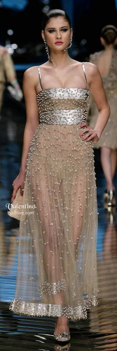 Valentino Sheer Beaded Evening Gown