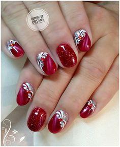 Ongles Bling Bling, Bling Nails, Red Nails, Gray Hair Highlights, Nagel Bling, Best Nail Art Designs, Cool Nail Art, Winter Nails, Nail Arts