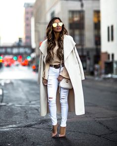 4f296628c ... Winter Look - Outfit Details  Waterfall Coat Tie Shoulder Sweater White  Distressed Denim Gucci Marmont Matelassé Mini Bag Christian Louboutin Nude  Pumps ...