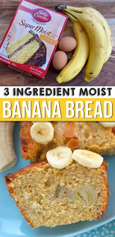 Looking for quick and easy banana bread recipes? This moist and delicious banana bread is made with just 3 ingredients: cake mix, ripe bananas and eggs. You can also add chocolate chips, walnuts, peca Quick And Easy Banana Bread Recipe, Super Moist Banana Bread, Easy Bread Recipes, Cake Mix Recipes, Banana Bread Recipes, Simple Banana Bread, Banana Bread 3 Ingredient, 3 Ingredient Meals, Two Ingredient Cakes
