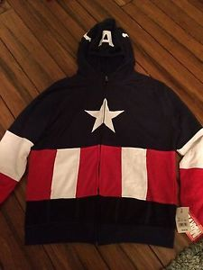 Marvel Comics Captain America Masked Hoodie Youth Zip Up Sweatshirt Jacket Sz XL | eBay