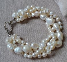 pearl bracelet 8 inches 4 rows 6-14mm white by goodgoodjewelry
