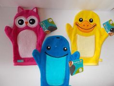 """NWT Best Brands """"Safety 1st"""" Wash Bath Mitt Puppet Pick From 3 Owl Ducky Whale  #BestBrands"""