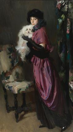 https://flic.kr/p/nZ4JEw | Alciati, Ambrogio Antonio - ELEGANT WOMAN WITH HER DOG | 1878-1929