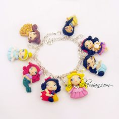 to ] Great to own a Ray-Ban sunglasses as summer gift.Handmade bracelet Disney Princess Inspired polymer clay via Etsy Polymer Clay Figures, Cute Polymer Clay, Polymer Clay Dolls, Cute Clay, Polymer Clay Miniatures, Polymer Clay Projects, Clay Crafts, Polymer Clay Bracelet, Polymer Clay Charms