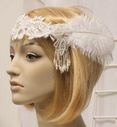 White Flapper Bridal Headpiece the Great Gatsby Hand Beaded Lace Headband