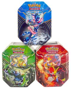 Product details for 2014 Pokemon Kalos Power Summer Tin - Set of 3 (Chesnaught-EX, Delphox-EX, Greninja-EX)