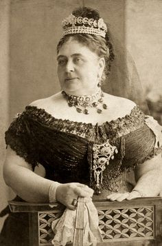 Princess Mary Adelaide of Cambridge, Duchess of Teck and wife of Prince Francis, Duke of Teck, wearing the Teck Crescent Tiara, United Kingdom (1866; diamonds, silver, gold).