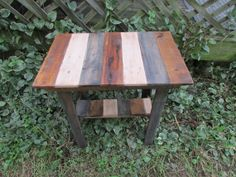 Rustic Side Table, Solid Wood, Rustic Side Table with Shelf, Reclaimed Wood, Patio, Cabin, Beach Cottage, Beach House