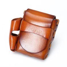 High Quality Men Vintage Casual Genuine Leather Belt Waist Cigarette Case Bags Packs For Men Ipad Bag, Cigarette Case, Messenger Bags, Leather Bag, Belt, Casual, Vintage, Belts, Vintage Comics