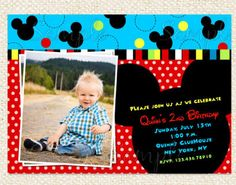 Mickey Mouse Inspired Birthday Party Invitation by LollipopPrints, $10.00