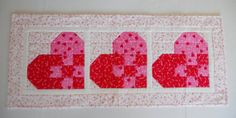 Valentine Patchwork Hearts Quilted Table by ForgetMeNotQuilteds, $36.00
