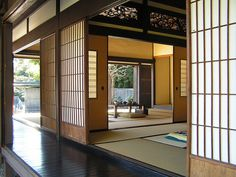screens, corridor, opening rooms. traditional japanese.