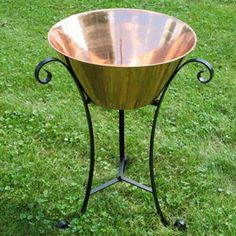 Copper Beverage Drink Tub With Stand Wine Stand, Beverage Tub, Beverages, Drinks, Wrought Iron, Unique Art, Natural Wood, Outdoor Living, Copper