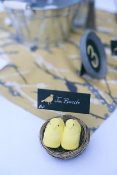 """Peeps for seating cards at a """"love birds"""" themed wedding"""