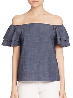 Alice and Olivia - Loryn Off-The-Shoulder Chambray Top - I like this sleeve - $220 at Saks
