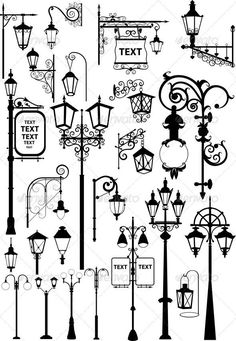 Lanterns Vector illustration of retro and modern street l. - Lanterns Vector illustration of retro and modern street lanterns Created - Doodle Drawings, Doodle Art, Drawing Sketches, Drawing Ideas, Sketching, Bullet Journal Inspiration, Bullet Journal For Men, Doodles, Graffiti