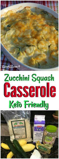 This Cheesy Zucchini Squash Au Gratin Bake Recipe is low carb and keto friendly! via @isavea2z
