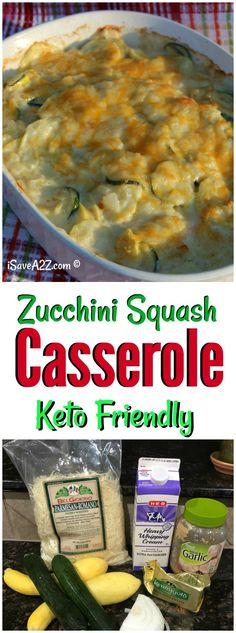 This Cheesy Zucchini Squash Au Gratin Bake Recipe is low carb and keto friendly! via @isavea2z