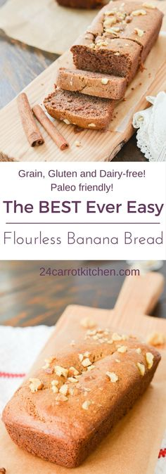 Flourless Banana Bread – One bowl and ready in 30 minutes! Flourless Banana Bread – A bowl … Paleo Bread Recipe Easy, Carrot Bread Recipe, Wheat Free Recipes, Gluten Free Recipes, Yummy Recipes, Healthy Eating Recipes, Whole Food Recipes, Healthy Cooking, Healthy Eats
