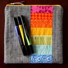 quilted rainbow pouch