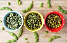 "15 Quick and Easy High-Protein Snacks -  Roasted Edamame, Three Ways (15 g protein per cup) In addition to being packed with protein, edamame is high in fiber and relatively low in calories. The best part about roasting them at home? You can customize the flavorings! This recipe includes instructions for three different flavors — Parmesan and garlic, pepper and sea salt and a ""smoky and spicy"" mix of cayenne pepper and paprika — but don't be afraid to get creative"