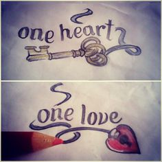 One Heart One Love Couple Tattoo Design | Cool Tattoo Designs