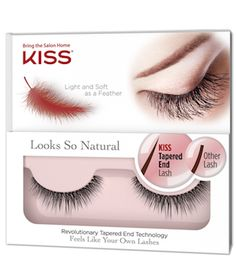 Never have lashes looked so natural! Kiss Looks So Natural Lashes were created using Revolutionary Tapered End Technology. They blend seamlessly with your own lashes for a super natural look, just better.