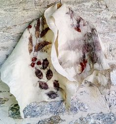 Eco printed felted woolen wrap Eco fashion Art to wear Statement scarf by SalkimiCreations on Etsy
