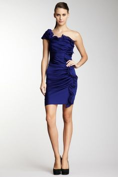 Catherine Malandrino Asymmetrical Ruched Shoulder Dress in Peacock from hautelook.com