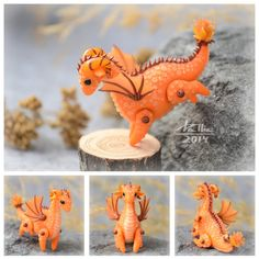 Mini Dragon - Orange by dallia-art  Dragon with movable legs and wings. Height – 3.5cm Length - 4.5 cm. Colored polymer clay, no paint.