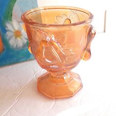 Vintage INDIANA Pear in Relief Carnival Glass Marigold GOBLET, Iridescent Glass, 1960's Barware, Wine, Champagne by ThreeLegaciesVintage on Etsy