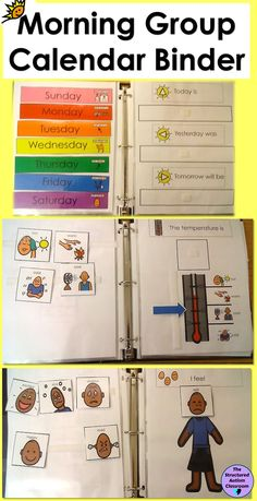 Morning Work Calendar Binder Interactive for Autism and Special Education Morning Work Interactive Calendar Binder for Autism and Special Education. Also includes rules, months, weather, seasons, seasonal clothing Life Skills Activities, Life Skills Classroom, Autism Activities, Autism Classroom, Special Education Classroom, Classroom Activities, Listening Activities, Education Jobs, Education Quotes