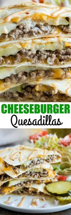 These quick and tasty Cheeseburger Quesadillas are so easy to make! Serve with a crispy wedge salad on the side and lots of special sauce for a full meal. via /culinaryhill/ (ground beef recipes for dinner tortillas) Snacks Saludables, Quesadilla Recipes, Quesadilla Burgers, Cheeseburgers, Cheeseburger Quesadilla, Comida Latina, Wedge Salad, Food Dishes, Main Dishes