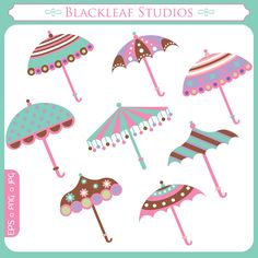 April Shower Umbrellas - Illustrations & Cliparts - April Shower Umbrellas - MYGRAFICO - DIGITAL ARTS AND CRAFTS STORE