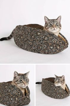 The Cat Canoe® is a modern cat bed, designed to keep your kitty (or small dog) cozy and warm. This Cat Canoe is made in a brown and black batik fabric and has a bohemian, earthy look. The fabrics are 100% cotton and this design was made in the USA.