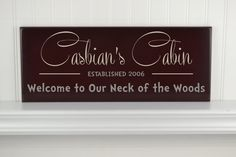 Cabin Sign Personalized Welcome Family Name Sign with Established Date & Quote - Custom Wood Name Family Established Plaque for Beach House Welcome to Our Neck of the Woods
