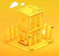 3D - Bairro Isométrico on Behance