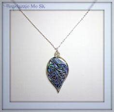 Periwinkle Leaf Statement Necklace, polymer clay Jewelry available via Etsy.