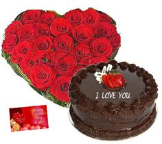 24 Red roses heart shape arrangement + 1 kg Chocolate cake with free valentine card