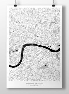 "London Map Poster BW 24""x36"""