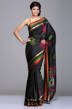 Black Soft Silk Saree With Pink And Green Paisley Motifs & Multicolored Striped Border And Gold Zari Paisley Motifs & Pink & Green Floral Vine Pattern On Pallu