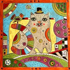"""Элементы интерьера ручной работы. Ярмарка Мастеров - ручная работа. Купить Изразец-панно """"КОТ"""". Handmade. Разноцветный, кот, изразцы"""