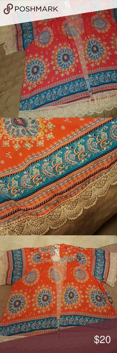 Kimono with crochet trim from Umgee Beautiful colors. Orange, turquoise and cream. BNWT size S/M Umgee Tops