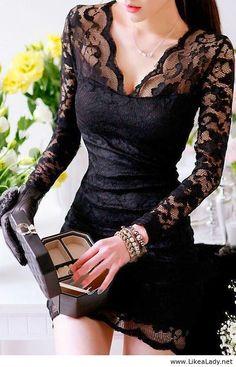Black Hollow Lace Dress