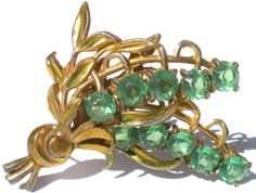 Rhinestone Vintage Brooch Jewelry with Green Glass by RibbonsEdge