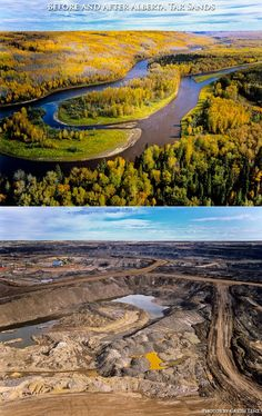 Before and after photos of the Alberta Tar Sands