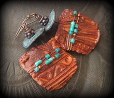 Ceramic, Tribal, Rustic, Turquoise, Wired, Artisan Clay, Mykonos, Copper, Beaded Earrings by YuccaBloom on Etsy