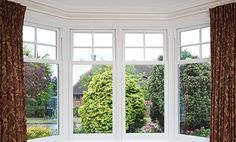 White uPVC Sash bay window with white furniture Upvc Sash Windows, House Windows, Windows And Doors, Bay Windows, Craftsman Windows, Window Glazing, 1920s House, Aluminium Windows, House Extensions